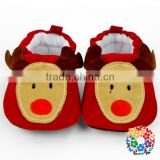 Newborn Boys And Girls Prewalker Soft Reindeer Print Suede Children's Shoes Warm Boots