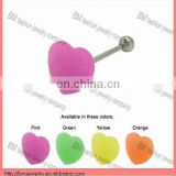 Silicone heart shaped tongue barbell body piercing jewelry