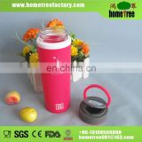 Portable Pill Box Plastic Tumbler Bottle With Glass Inner Water Bottle Glass Silicone