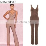 China supplier fashion sleeveless bandage deep-v neck women jumpsuit sexy