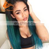 Customed Two Tone Ombre Color 100% brazilian Human Hair 26inch Straight Silk Top full lace Wig
