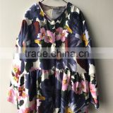 2016 Fashion Floral Print Silk Wool Twill fabric Collarless Blouse