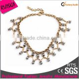 Fashion Jewelry Antique KC Gold Plating Necklace With Unconventional Gray Beads For Ladies