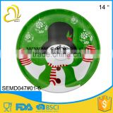 melamine christmas tableware plastic round big food serving plate