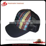 Custom print plaid cheap baseball trucker hats rope baseball trucker cap