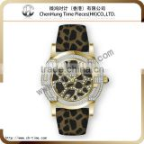 Quartz couple vintage leopard genuine leather band rubber wrist watch stainless steel case