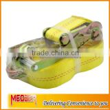"High quality 5Ton 50mm width 50mm tie down strap/ 2"" ratchet belt yellow webbing with double J hooks"