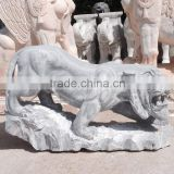 Tiger statue marble stone hand carved sculpture for home garden hotel restaurant