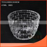 415ml glass salad bowls with embossment of brick shape                                                                         Quality Choice