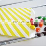 Yellow and white stripe candy bags Glassine paper bags paper Popcorn bags