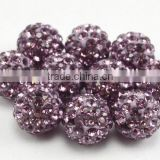 Popular polymer clay round lt amethyst color crystal ball shamballa beads for bracelet and shamballa jewelry