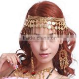 Straight Row of Bells Gold Hairpin with Light Weight for Belly Dance Performance