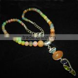 Ethiopian Welo Opal Smooth Round Balls with sterling silver 925 opal pendant 22 inch Full Strand 5-9 M.M. Beads