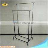 Double Pole Iron Pipe Adjustable Garment Rack Telescopic Stand Clothes Drying rack Manufacturer Supplier