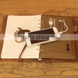 Custom 6 Ring Binder Leather Planner with Power Bank for Promotion Gift Item