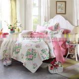 Country Style Pink Flower Spring bedding set 100% Cotton