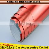 Stretchable newest brushed metal vinyl car wrap/Red Matte Chrome Vinyl Film Auto Sticker Brushed