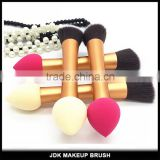 Custom made Duo Ended Aluminum cosmetic brush sponge blush brush synthetic hair makeup brushes with private logo