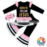 Children's Pink Frill Design Black Stripe Girls Cotton Long-sleeved T-shirt And Pant Grils Clothes