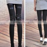 Fashion Rock Punk Knee Studded Rivets Leggings Woman Tights Pant Trousers
