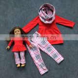 doll and me girls baby kids scarf red aztec pant sets with matching Hot sell boutique clothes kids black top sets