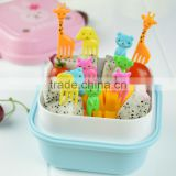 10Pcs/Lot Mini Animal Farm Cartoon Food Fork Set Cake Fruit Picks Sign Bento Lunches Party Decor Vegetable Tableware KC1464