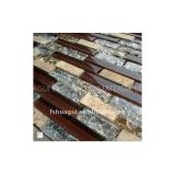 Brown color crystal glass mix stone kitchen mosaic tiles/kitchen backsplash