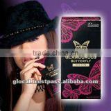 Japan male sex long time condom 'GLAMOUROUS BUTTERFLY HOT 1000' --- outside top jelly-coated --- 12p
