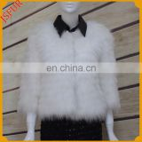 White pure color raccoon fur jacket black leather lapel collar with real raccoon fur jacket for women