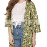 Beautiful Print ruffle trim cover up for women