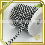 3 rows hot fix rhinestone sheet black white crystal pearl bead chain for bag handle FHRS-039