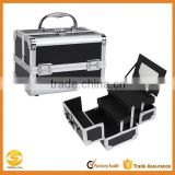 Mini Makeup Train Case with Mirror in Black and Silver Frame,Aluminum Cosmetic travel carrying case,cosmetic makeup vanity case