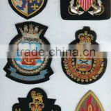 new bullion wire hand embroidered crown badge on black blazer fabric Patches