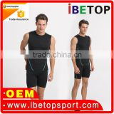 2016 Yihao Men's Gym Compression Tank Top Tights Men Sports Quick Dry Breathable man custom crop top