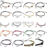Macrame Pave CZ Beaded Bracelet Provide Colorful Ropes Color Red Black Green White with China Knots 100% Handmade Craft