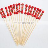 Art bamboo food sticks with red wooden ball /bamboo skewer for decoration