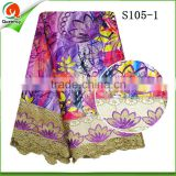 embroidery factory wholesales floral printed satin fabric raw silk satin fabric with embroidered cord lace