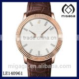 Classic hand wind mechanical men's watch crocodile leather strap-rose gold plating hand winding watch sapphire crystal
