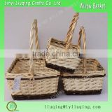 handmade set 3 antique wicker egg basket kitchen fruit and vegetable storage basket with handle