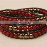 Red Coral Triple Wrap Leather Beaded Bracelet. Holiday Red. Artisan crafted copper button