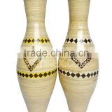 Vietnam spun bamboo and coconut vase, handicraft bamboo vase with natural color