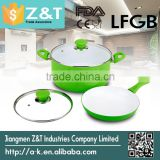 green stretch double handle kitchenware set aluminium kitchen cookware fry pan sauce pot