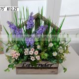 Wholesale beautiful hanging flower arrangement in wooden pot for hotel decor, home decor