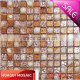Polished gold foil shell and crystal glass mosaic tile for kitchen backsplash decoration