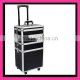 Mobile 3-in-1 Aluminium Cosmetics/Beauty/Hairdressing/Vanity Trolley/Box/Case
