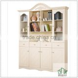 Korea Style White Bookshelf Design Wooden HA-C# Four Doors Corner Bookcase Modern Public Office Bookshelf