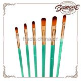 Cheap Wholesale 6 Pcs School Acrylic Painting Brush Green Plastic Handle Artist Name Of Paint Brushes For Students/Kids
