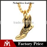 2017 Gothic gym shoes pendant necklace stainless steel high quality mens necklace jewelry