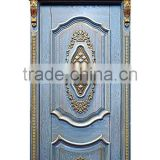 Luxury French Baroque Style Solid Wood Carved Blue Door with Golden Frame BF11-09223c