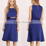 Ladies Formal Skirt Suit Traditional Fancy Sexy New Style Modern Flared High Waisted Midi Length Skirt Crop Top Set